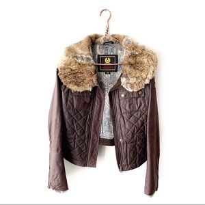 Belstaff | Oiled Waxed Cotton Fur Trim Jacket 40